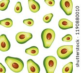 fresh avocados halfs pattern | Shutterstock .eps vector #1190880010