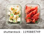 slices of fresh melon and... | Shutterstock . vector #1190885749