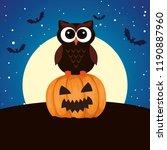 halloween owl with pumpkin on... | Shutterstock .eps vector #1190887960