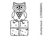 happy halloween giftbox with owl | Shutterstock .eps vector #1190888896