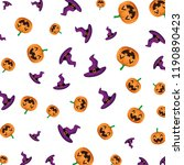 witch hat with pumpkins... | Shutterstock .eps vector #1190890423