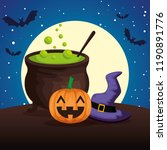happy halloween cauldron with... | Shutterstock .eps vector #1190891776