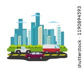 road with cars cityscape scene | Shutterstock .eps vector #1190894593