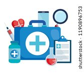 medical kit with set icons | Shutterstock .eps vector #1190896753