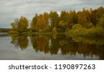a small river bay with forest...   Shutterstock . vector #1190897263