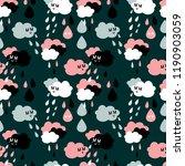 cloud rain cute kawaii pattern... | Shutterstock . vector #1190903059