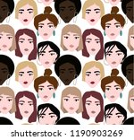 ethnic female faces abstract... | Shutterstock . vector #1190903269