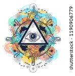 all seeing eye pyramid tattoo... | Shutterstock .eps vector #1190906779