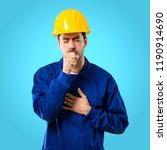 young workman with helmet is...   Shutterstock . vector #1190914690