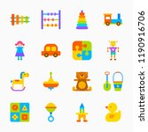 color toys icons on a white... | Shutterstock .eps vector #1190916706
