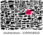 Stock vector giant set of black brush strokes paint ink brushes lines grunge dirty artistic design 1190918410
