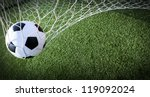 soccer ball in goal  success... | Shutterstock . vector #119092024