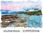 watercolour painting of dusk... | Shutterstock . vector #1190920546