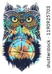 owl and compass tattoo and t... | Shutterstock .eps vector #1190925703