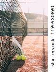 padel blade racket resting on... | Shutterstock . vector #1190930890