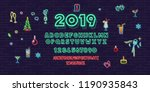 neon christmas and new 2019... | Shutterstock .eps vector #1190935843