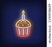 cupcake neon sign. luminous... | Shutterstock .eps vector #1190938609