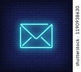 blue letter neon sign. luminous ... | Shutterstock .eps vector #1190938630