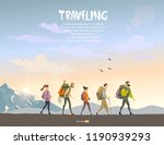 cartoon character traveling... | Shutterstock .eps vector #1190939293