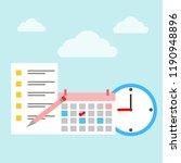 calendar and clock. concept of... | Shutterstock .eps vector #1190948896