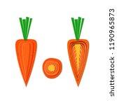 set of paper cut orange carrot. ... | Shutterstock .eps vector #1190965873