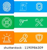 simple set of  9 outline icons... | Shutterstock .eps vector #1190986309