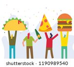 vector illustration of taco ... | Shutterstock .eps vector #1190989540