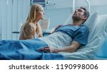 in the hospital sick man lying... | Shutterstock . vector #1190998006
