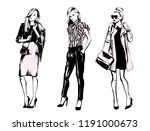 set of fashionable womans....   Shutterstock .eps vector #1191000673