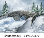 Snowy Landscape With A Bridge...