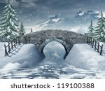 Winter Scenery With A Bridge...