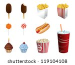 fast food icons | Shutterstock .eps vector #119104108