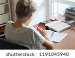 a caucsian blonde teenager boy... | Shutterstock . vector #1191045940