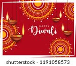 happy diwali wallpaper design... | Shutterstock .eps vector #1191058573