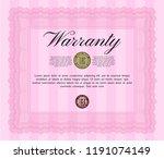 pink warranty certificate...   Shutterstock .eps vector #1191074149