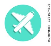 plane icon in badge style. one...