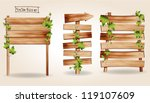 wooden signs with green leaves...