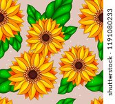 seamless pattern with sunflowers | Shutterstock .eps vector #1191080233