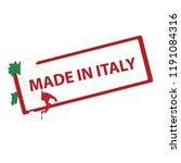 stamp with map and flag of italy   Shutterstock .eps vector #1191084316