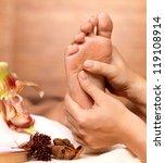 massage of human foot in spa...   Shutterstock . vector #119108914