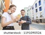 street portrait of a happy... | Shutterstock . vector #1191090526