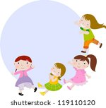 four little girls | Shutterstock .eps vector #119110120