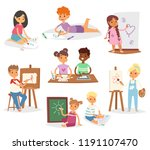 artist vector kids children... | Shutterstock .eps vector #1191107470
