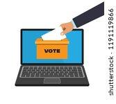 voting online concept in a flat ... | Shutterstock .eps vector #1191119866