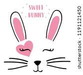 Stock vector text bunny heart tee illustration design art vector 1191121450