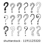 set of hand drawn question... | Shutterstock .eps vector #1191125320