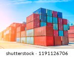 stack of containers box  cargo... | Shutterstock . vector #1191126706