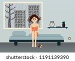 sad woman  sit  in her bed. ... | Shutterstock .eps vector #1191139390