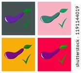 set of fresh eggplant vegetable ... | Shutterstock .eps vector #1191144019