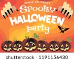 spooky halloween party.... | Shutterstock .eps vector #1191156430